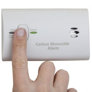 Carbon monooxide alarm wall mounted unit